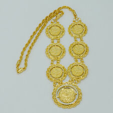 Gold Coin Necklace Turks Money Coin Chain Pendant Arabic Middle Eastern Jewelry