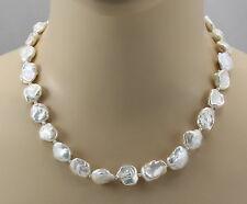 Perlenkette - weiße Keshi Zuchtperlen  Halskette für Damen 48 cm