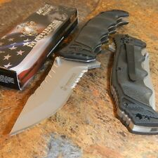 USMC OFFICIALLY LICENSED US MARINES SERRATED ASSISTED OPENING TACTICAL KNIFE NEW