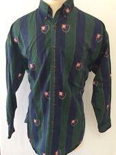 VTG Chaps Ralph Lauren Men's All Over Logo Spellout Shirt Sz L EUC Blue & Green