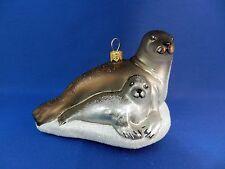 Gray Seal & Pup Sealife Glass Christmas Ornament Tree Animal Poland 011081