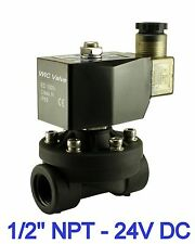 """1/2"""" Inch Plastic Air Water Gas Electric Zero Differential Solenoid Valve 24V DC"""
