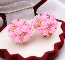 Stud Earrings Spring Tinny Flower Rhinestone Crystal Alloy Clip-on Cute Jewelry