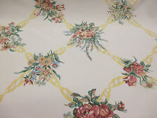 "Ivory & Pink Vintage Floral ""Cotleigh"" Printed 100% Cotton Curtain Fabric"