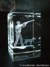 LASER CRYSTAL PAPERWEIGHT SHOOTING HUNTING 3624 PRESENTATION BOXED