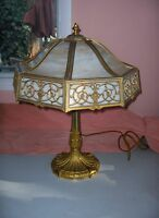 Vintage Miller Table Lamp Art Nouveau 3-Light Caramel Slag Glass Octagonal 1042