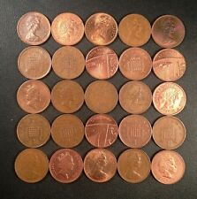 Old Great Britain Coin Lot - 25 One Pence! Unsearched - FREE SHIPPING