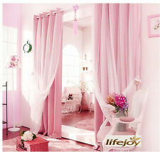 BLOCKOUT EYELET CURTAINS Double Layer Bridal Lace GIRLS Curtain PINK Sheer 2.4m