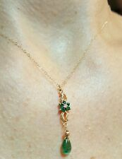 Zambian pear Emerald Diamond accent flower bar solid 14k Gold Necklace pendant