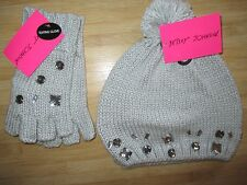 NEW GLOVES HAT BETSEY JOHNSON Gem Jewel Detail Texting Grey Silver Mittens