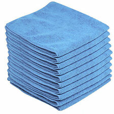 10 x BLUE CAR CLEANING DETAILING MICROFIBER SOFT POLISH CLOTHS TOWELS LINT FREE