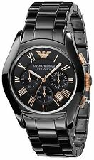 Emporio Armani AR1410 Ceramica Black and Gold Chrono Mens Watch Nuevo