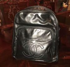 CHANEL Authentic Vintage Black Leather Back Pack - Excellent Condition