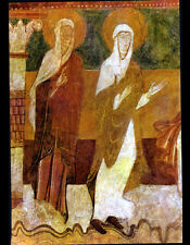 BRINAY (18) EGLISE , FRESQUE du XII° Siécle ,FEMMES de la PRESENTATION au TEMPLE
