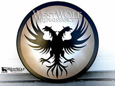 Round Wooden TWIN PHOENIX SHIELD -- sca/larp/greek/spartan/trojan/viking/armor
