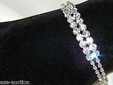 WEDDING BRIDAL 2 ROW SILVER CLEAR RHINESTONE CRYSTAL FLEXIBLE BRACELET