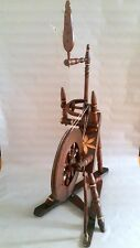 ANTIQUE UNIQUE PRIMITIVE OLD WOODEN SPINNING WHEEL (with brass encrustment)