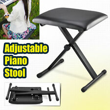 PORTABLE Adjustable Folding 3 Way Keyboard Piano Stool Seat Bench Chair - Black