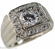 Championship styled 4.8 carat 18k white gold overlay Men's ring size 14