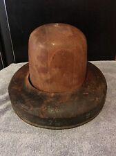 ANTIQUE Wood Mens Vtg Wooden Hat & Brim Block Form Millinery Mold