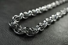 "23.5"" HEAVY Twist Chain Silver Rolo Necklace for Harley Davidson Biker Group 61"