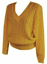 New Women ladies knitted mustard cable v neck jumper top size 16