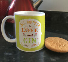 All you need is Love and Gin funny quote ceramic mugs & coffee cups