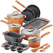 15PC Non-Stick Cookware Set Kitchen Pots Pans Lids Cooking by Rachel Ray Orange