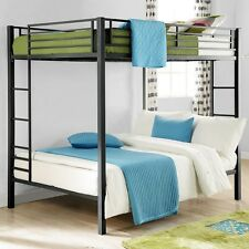 Full Size Bunk Beds Black Double Bunkbeds Kids Dorm Loft Bed Bedroom Furniture