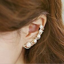 Rhinestone Clip Earrings Crystal Pearl Ear Cuff Stud Earrings (Single Piece)