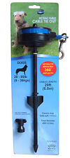 Dog Tether, Retractable Cable Tie Out, Strong Stake, Medium 20-80 lb, 20ft lead
