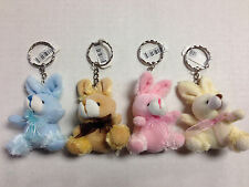 12 Pieces Plush Stuffed Bunny Rabbit KeyChain Key Chain Assorted Colors Furry