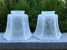 2 VINTAGE ETCHED FROSTED GLASS LAMP SHADES WALL SCONCE LIGHTS