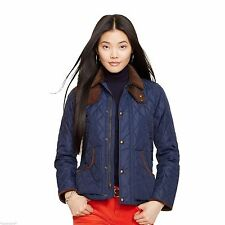 $365 RALPH LAUREN POLO SUEDE LEATHER QUILTED COAT JACKET Navy Chepstow M L