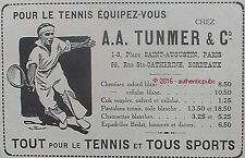 PUBLICITE A.A TUNMER SPORT VETEMENT POUR LE TENNIS OXFORD DE 1918 FRENCH AD PUB