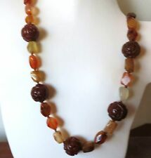 """ANTIQUE VINTAGE CHINESE CARVED CARNELIAN LONGEVITY BEADS NECKLACE 36"""""""