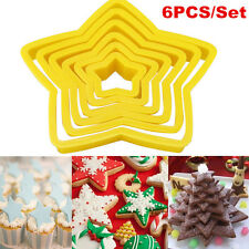 6pcs/set Xmas Style Stars Shape Cookie Cutters Mold Fondant Cake Decorating Tool
