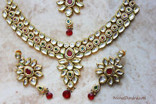 Kundan Meena Kari Necklace Set with Earrings Tikka Indian Pakistani Traditional