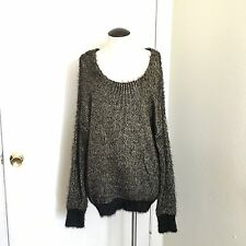 Jeans by Bufallo Women's Fuzzy Tunic Sweater Black-Gold Size XL
