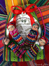 GUATEMALAN WORRY DOLL - TEXTILE BAG - LARGE - 4 DOLLS