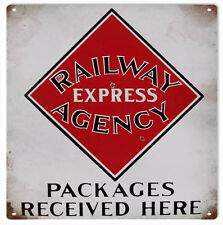 Railway Express Agency Packages Received Here Railroad Sign