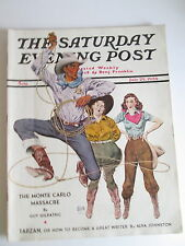 1939 July 29 Saturday Evening Post Davis Cover Art Cowby Cowgirls, Coca Cola Ad