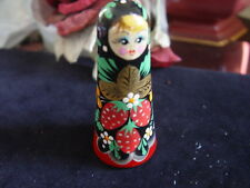 HAND PAINTED RUSSIAN DOLL WOODEN NEEDLE HOLDER - red / black / gold / green