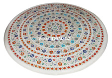 """48"""" White Marble Dining Center Table Top Rare Mosaic Inlay Hallway Decor H902"""