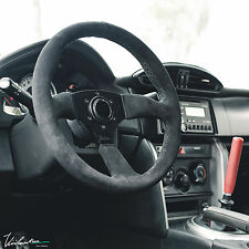 VIILANTE LEGGERA 350MM STEERING WHEEL GENUINE SUEDE BLACK STITCH FITS SPARCO HUB