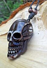 Skull Large Brown Pendant & Long Adjustable Beaded Cotton Cord Necklace