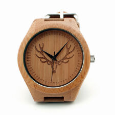 New Bamboo Wood Casing Quartz watch Skeleton Deer Head dail Pattern Leather band
