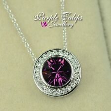 18CT White Gold Plated Amethyst Round Cut Necklace W/ Genuine Swarovski Crystal