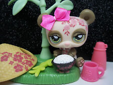 LITTLEST PET SHOP CREAM CHERRY BLOSSOM POSTCARD PANDA #904 HAT RICE ACCESSORIES