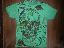 Men T Shirt short sleeve white cotton retro Rock Metal Scull Bird L RARE Sure